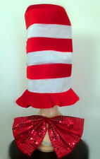 Cat In The Hat Costume Hat Sequin Bow Tie Dr Seuss Adult Fancy Dress Party