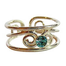 Sterling Silver (925) Adjustable Blue Jewel Stone Toe Ring ! New !