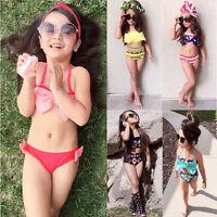 Toddler Kids Baby Girls Bow Bikini Set Swimsuit Swimwear Bathing Suit Beachwear