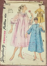 New ListingVintage Sewing Pattern Simplicity 4972 Duster Negligee Housecoat Size 12/30 Cut