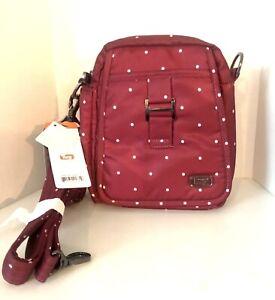 LUG CAN CAN RFID Convertible Crossbody Bag Cranberry Red Adjustable Handbag
