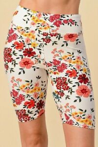 Floral Biker Shorts YOGA Waistband White Base Buttery Soft ONE SIZE OS