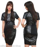 Sexy Lederkleid Kunstleder Minikleid Midikleid Kleid Party Wetlook 36 38