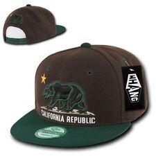 Brown & Green California Republic Flag Cali Bear Flat Snapback Snap Back Cap Hat