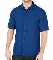 Alfani Mens Shirt Blue Size Medium M Button Up Short Sleeve Linen Blend $34 #133