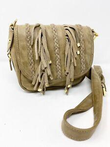 Steve Madden Boho Taupe Faux Leather Purse Shoulder Bag with Fringe