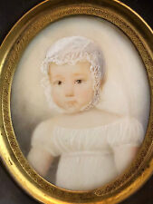 Portrait Child Painting Miniature 19 Th Century Antique French Painting