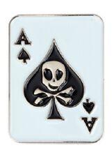 Ace Of Spades Badge pin Poker Gambler Motorhead Jolly Roger Skull Crossbones
