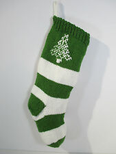 Christmas Stocking Knit Tree Green White Stripe Hand Made New Ready to Hang