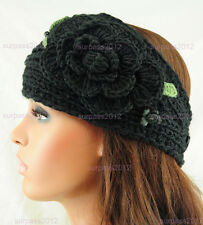 Big Size Knit Flower Headband Women's Crochet Hairband Headwrap Girl Ear Warmer