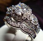 Certified 2.75CT Round Cut White Diamond Engagement Ring Bridal Set in 10K GOLD