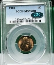 1910 Lincoln Cent in PCGS holder MS65RB with CAC sticker.