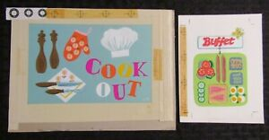 """COOK OUT & BUFFET Invitation w/ Food 9x6.5"""" Greeting Card Art LOT of 2"""