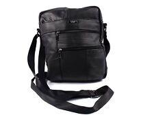 Mens Leather Manbag Travel Document Bag Crossbody Business A4 Holder Messenger 3757 Black