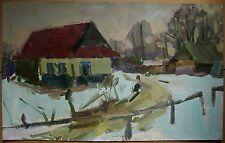 Russian Ukrainian Oil Painting Impressionism Landscape lodge village winter snow