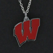 WISCONSIN BADGERS Necklace - Enamel Pewter Charm Pendant NCAA College NEW