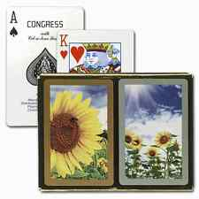 CONGRESS SUNFLOWERS BRIDGE PLAYING CARDS 2 DECK SET STANDARD INDEX NEW IN BOX