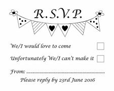 RSVP banner bunting wedding/engagement rubber stamp 11622, party invites invites