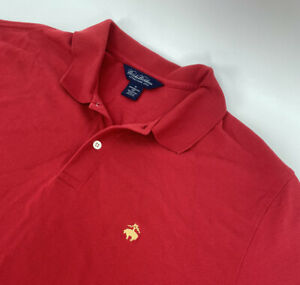Brooks Brothers Men's XL Button Short Sleeve Polo Red - 100% Cotton