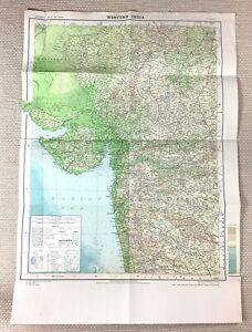 1968 Vintage Map of India Western Indian Region Bombay Gujarat Rajasthan LARGE