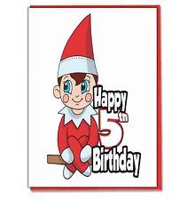 Elf 5th Birthday Card - Girls Boys Son Grandson Daughter Grandaughter Friend