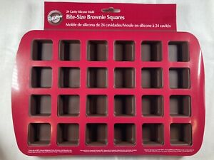 Wilton 24-Cavity Silicone Bite-Size Brownie Squares Mold Soap Candy Jelly Cake