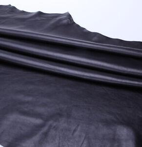 Real Cowhide  Leather Soft, Skins Hides Napa BLACK Whole Skin 1.5 - 5.0 Sq Meter