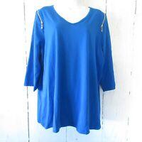 New Belle Kim Gravel Top 1X Cobalt Blue Shoulder Zipper TripleLuxe QVC Plus Size