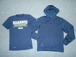 2 NIKE NFL SEATTLE SEAHAWKS MENS SMALL DRI-FIT SHIRT & THERMAL HOODIE