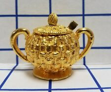 VINTAGE MINIATURE BRASS style 3 pc Sugar bowl part tea set lid handle dollhouse