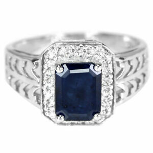 BEAUTIFUL BLUE SAPPHIRE STERLING RING SIZE M