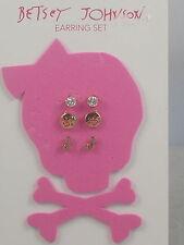 Betsey Johnson Goldtone Rhinestone Pig Smiley Face Initial J Stud Earrings 3 Set