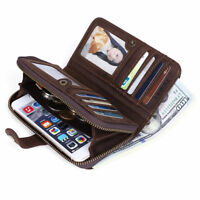 Men Leather Long Clutch Wallet Zipper Closure Purse Card Coin Key Photo Holder
