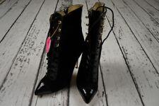 BNWT VERSACE H&M Black Suede Patent Leather Boots Tie Heels Booties EUR 39 US 8