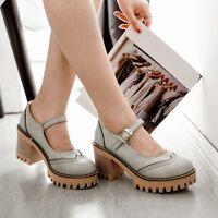 New Women Mary Jane Lolita Brogue Chunky High Heels Platform Shoes Creeper Size