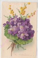 CPA ILLUSTRATEUR CATHARINA KLEIN  bouquet fleurs  violette mimosa