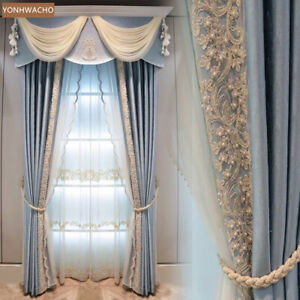 European solid modern blue French cloth blackout curtain valance panel C369