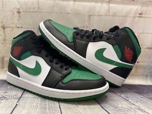 Nike Air Jordan 1 Mid Shoes Black Pine Green White 554724-067 Men's Size 12 NEW