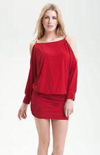 NEW Allen Schwartz Privé Cutout Shoulder Jersey Minidress DRESS SIZE XS 2-4 RED