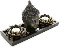Buddha Head Sculpture Zen Garden Set w/Lotus Tealight Candle Holders