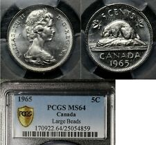 ELITE VARIETIES CANADA 5 cents - 1965 Large Beads - PCGS MS64 (a484)