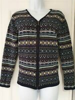 Womens Vintage Laura Ashley Blue Fairisle Nordic Embroidered Wool Zip Cardigan L