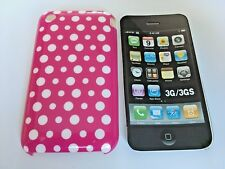PROTECTIVE TPU GEL BACK CASE COVER FOR APPLE iPHONE 3 3GS - PINK DOTS DESIGN