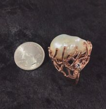NATURAL RARE JUMBO BAROQUE 34x35mm WHITE PEARL ROSE GOLD 925 SILVER RING, SIZE 9