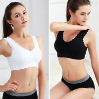 Womens Sexy Lace Seamless Yoga Sport Bra Crop Top Padded Stretch Shapewear hot