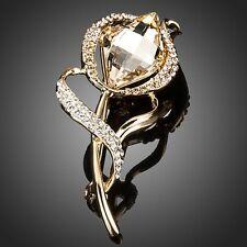 Sparkly Champagne Gold Made With Swarovski Crystal Rhinestone Flower Brooch Pin