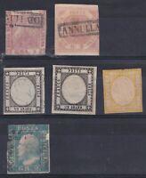 lotto di 6 francobolli Napoli - Provincie Napoletane e Sicilia