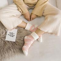 Women Bed Socks Love Heart Fluffy Warm Winter Gift Soft Floor Socks _QA