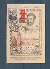 FRb carte  1er jour  journée du timbre  76 Rouen  1946  et vignette surchargée