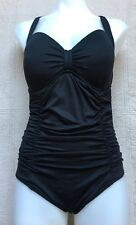 Seafolly Goddess Sweetheart Maillot 1-Piece Swimsuit Black US Sz 8DD, Adjustable